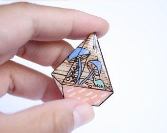 Mushroom pin, Terrarium brooch, terrarium pin