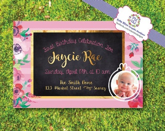Baby Girl, First Birthday, Invitation, pink, pinstripe, watercolor, gold, chalkboard, photo, floral