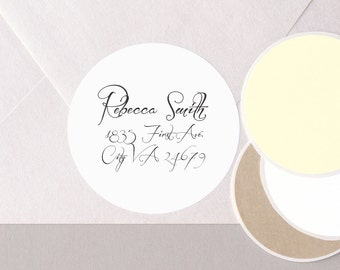 "cursive FANCY elegant font return address label stickers modern minimalist personalized round 12 large 2.5"" or 20 medium 2"" plain WHITE"