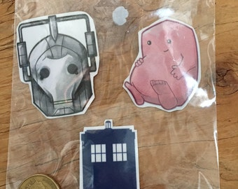 Dr who stickers! Tardis, Adipose and Cybermen