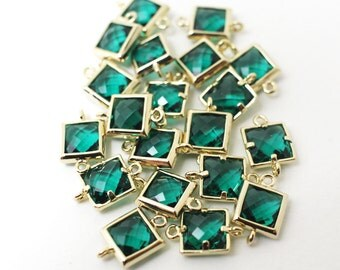 G002405/Emerald/Gold plated over brass/Sqaure faceted glass Connector/7x11mm/2pcs