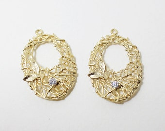 P0100/Anti-Tarnished Matt Gold Plating Over Brass/Branch net pendant with CZ/27x18mm/2pcs