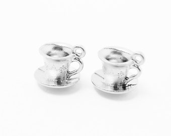 P0237/Anti-Tarnished Matte Rhodium Plating Over Pewter/Tea Cup Pendant/10x9.5mm/4pcs