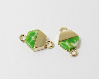 P0292/Anti-Tarnished Gold Plating Over Brass + Dyed Jade Stone/Hexagon Shape Light Green Stone Pendant Connector/12x 8mm/2pcs