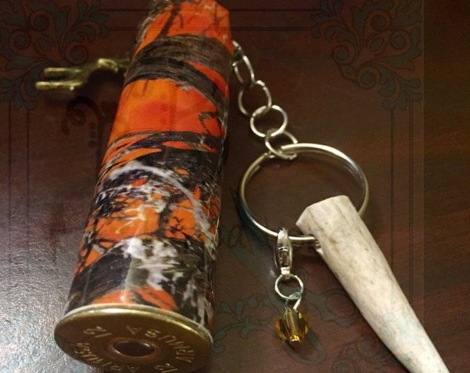 Orange camo 12 gauge shotgun shell keychain with REAL antler tip