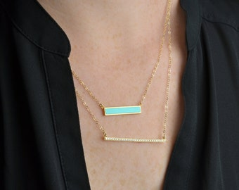 Gold Turquoise Bar Necklace Set / Diamond Bar / Sterling Silver, Rose gold / Delicate Necklace / Layering Necklace