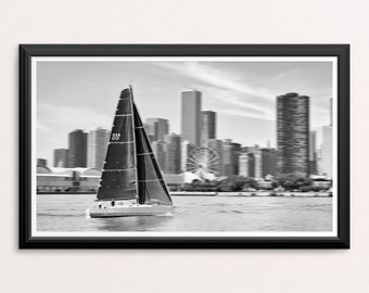 Chicago Navy Pier Sailing Photo Art Large Print