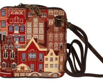 Tapestry Shoulder Bag Flemish House 18x18cm (7 X 7 inches)