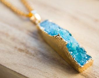 Blue agate druzy necklace