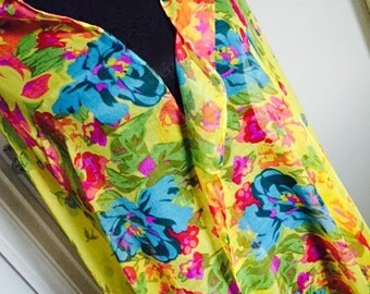 pashmina shawl cover up scarf Fichu multi yellow Flowers