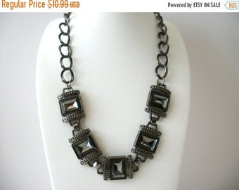 ON SALE Vintage Chunky Chain Top Etched Glass Panels Necklace 8116