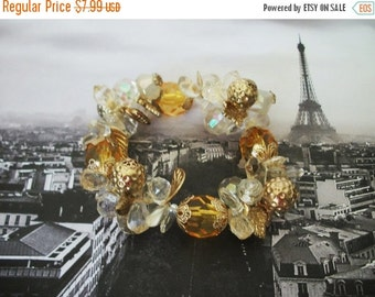 ON SALE Vintage Chunky Shades Of Transparent Pearly Gold Bracelet 959