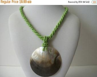 ON SALE Vintage Abalone Shell Pendant Necklace 1519