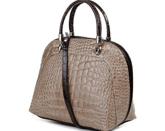 The Queensbury Taupe Italian Leather Handbag