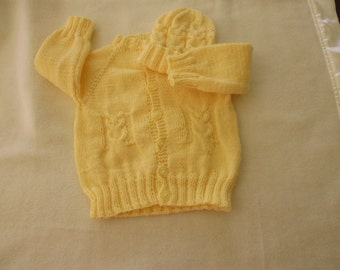 Hand knitted baby owl cardigan and matching hat. 0-3 months