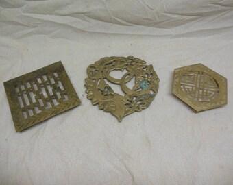 Three Vintage Brass? Bronze? Metal Trivets - Kitchen Hot Pot Holders