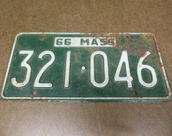 Vintage 1966 Massachusetts Hunter Green License Plate 321 046 - Mass 66 Automotive Transportation Wall Decor