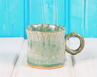 Unique Cup in mint - stamp - surprise in the bottom of Cup - modern ceramic - tea - coffee cup - PRODUCTION ORDER
