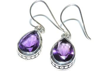 Sterling Silver Purple Tear Drop Stone Dangle Earrings