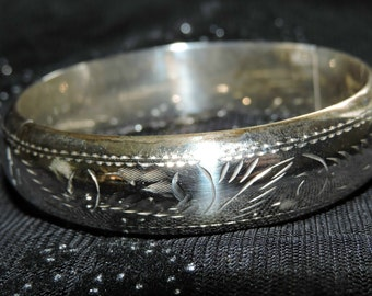 Bangle Bracelet Etched Sterling Silver