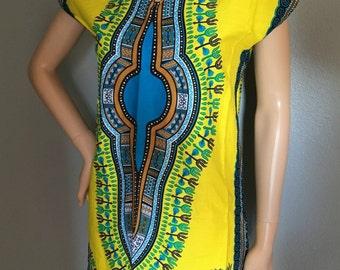 African handmade Dashiki caftan above the knees dress