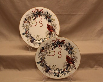 "Lenox Dinner Plates (Set of 2) titled ""Winter Greetings"" by Catherine McClung - Fine Ivory China - Made in the USA - 1995 - Dishwasher Safe"