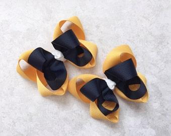 School uniform hair bows-navy and gold  bows-set of two matching school uniform hair bows-school bows-piggy tails navy and gold matching bow