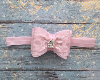 Pink baby headband-Light pink bowtie baby heaband-pink lace bowtie infant newborn headband- light pink  headband- pink lace baby headband