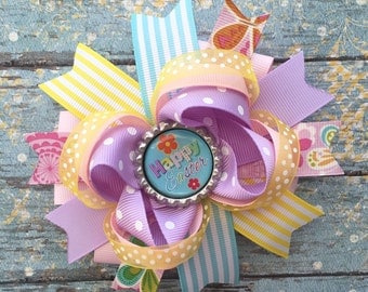 Easter hair bow-over the top layered Easter spring hair bow-spring and easter bottle cap hair bow-large spring easter hair bow-Easter bows-