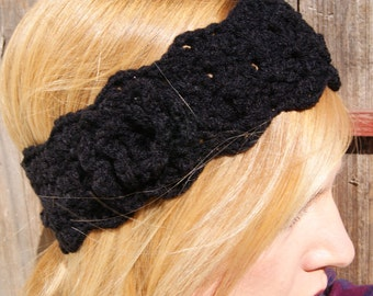 Black headband with rosette