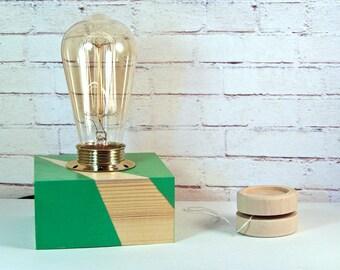 Table Lamp for Him - Contemporary Desk Lamp - Green Desk Lamp - Minimalist Table Lamp - Small Desk Lamp - Desk Light - Wood Lamp - Lighting