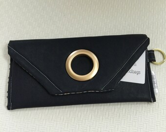 Navy leather wallet- Navy clutch purse- oversized leather wallet