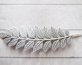 Leaf bobby pin Silver Laurel Leaf Hair clip Leaf Hair Pin Raw Brass Wedding bobby pin Bridesmaids Bridal Gifts for her Hair Accessories