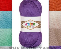 Alize Bahar mercerized cotton, summer yarn, crochet yarn, 8ply, DK, medium, 13wpi, pink,purple,blue, cream, beige.white,yellow,red,grey