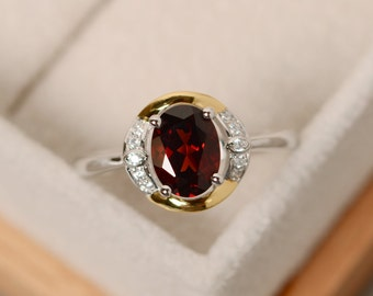 Garnet ring gold, yellow gold, sterling silver, oval cut ring, promise ring