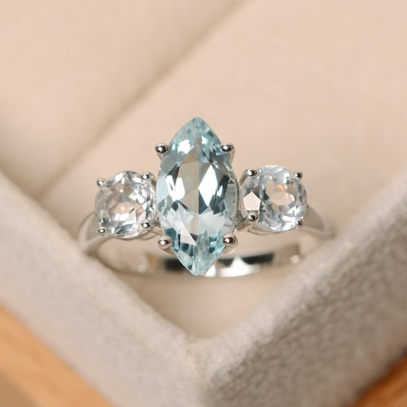 aquamarine wedding rings marquise aquamarine ring engagement ring three ring 1358