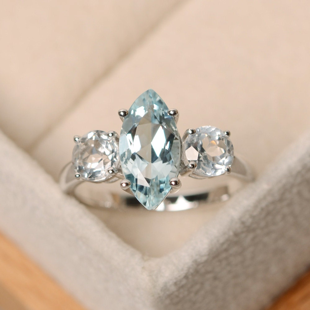 marquise aquamarine ring engagement ring three stone ring. Black Bedroom Furniture Sets. Home Design Ideas