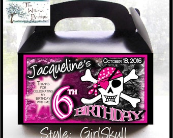 Girl Skull PIRATE BIRTHDAY PARTY Assorted Products Personalized with your childs name etc.