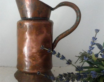 Antique Copper Jug, French Vintage, Hand-Made Pitcher, Rustic Pitchers