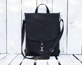 Vegan Black Canvas Backpack, Women's 2in1 Rucksack, Waterproof Backpack, Water Repellent Bag, Crossbody Bag, Macbook Backpack, City Backpack