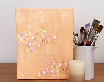 Abstract Painting. Original Art. Modern Home Decor. Peach Pastel Colors.