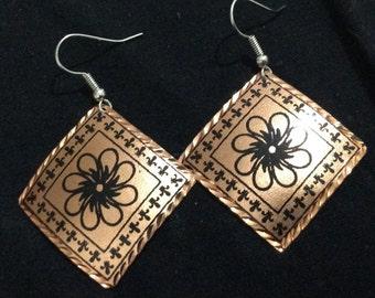Copper Earring Handmade, floral design