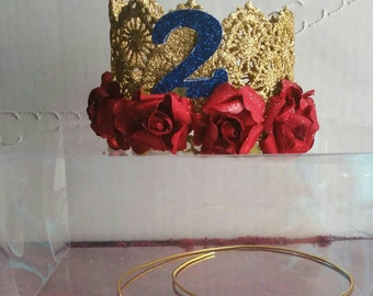 Lace crown, glitter crown, with number