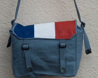 Hand painted messenger bag - French Flag
