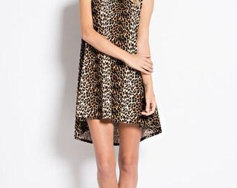 Animal Print Sleeveless Mini Dress Tunic Top (Made in USA)