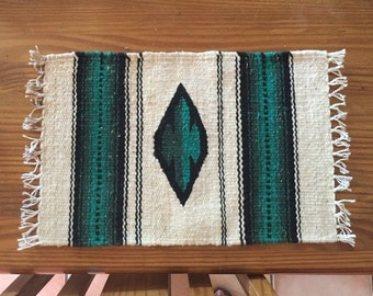 Mexican woven wool placemats southwest style, pair, green and white