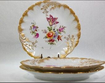 3 Antique German Dresden Wolfsohn Porcelain Bouquet Of Flowers Desert Plates