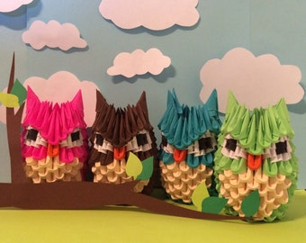 Colorful 3D Origami Owls