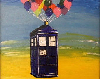 Doctor Who Tardis mixed with Disney's UP// Police box with balloons// Dr. Who Tardis// Disney's move UP// Kids room decor