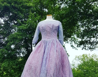1950's 50's 1950s 50s Vintage Lavendar Lace Dress Medium
